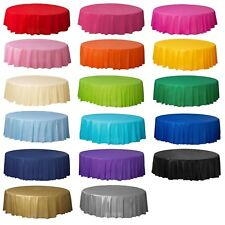 Round Solid Colour Plastic Table Covers Table Cloth Cover Wedding Birthday Party