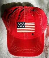 Polo Ralph Lauren Baseball Cap Hat Flag Adjustable Leather Strap Red NWT