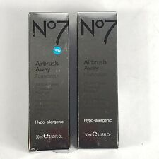 (2) Boots No7 Airbrush Away Foundation Latte 1 OZ Hypo-Allergenic all skin types