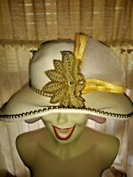 SALE@ ANTHONY DESIGN New York White Gold Sequin Church Fedora Derby Hat ❤️ts17j