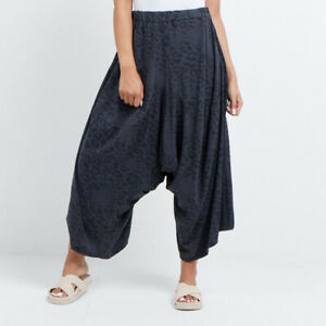Leopard Print Cotton Harem Pant in Charcoal from Timeless Season