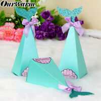 50×Little Mermaid Gift Boxes Sweet Paper Candy Box Mermaid Birthday Party Boxes