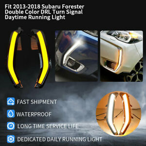 Fit 2013-2018 Subaru Forester Double Color DRL Turn Signal Daytime Running Light