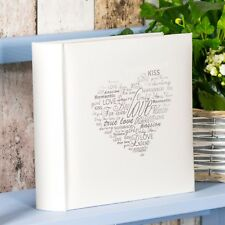 Cream Silver Love Heart Photo Album 200 Photographs 6x4 Wedding Picture Book