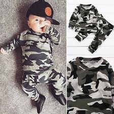 2pc NUEVO Recién Nacido Infantil Bebé Niño Ropa Militar Camiseta Suéter+