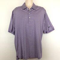MARTIN Golf Polo Shirt Mens XL Short Sleeve Purple Blue Striped Pima Cotton