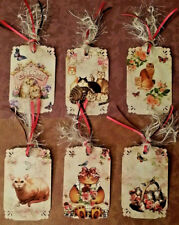 Vintage Cats~6 Premium Gift Hang Tags~Scrapbooking~Card Craft Embellishments