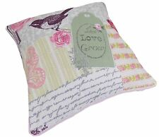 "LIVE LOVE GROW SHABBY PINK BIRDS ROSE FLORAL COTTON CHIC CUSHION COVER 18""- 45CM"