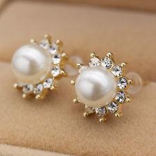 Women Vogue Sun Flower Pearl Rhinestone Ear Stud Earrings Party Wedding One Pair