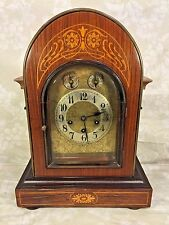 Ant Junghans Rosewood Bracket Clock Inlaid Veneer Wood Westminster Chimes Runs