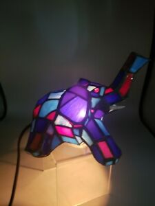 Tiffany Style Stained Glass  Elephant Trunk Up Table Lamp Desk Night Light Vtg