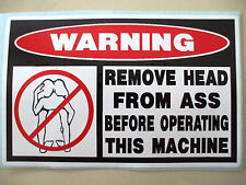FUNNY MACHINE WARNING ATV QUAD BIKE ATC SLED DIRTBIKE PWC STICKER DECAL HEAD 605
