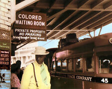 """COLORED WAITING ROOM DURHAM BUS STATION 1940 8x10"""" HAND COLOR TINTED PHOTOGRAPH"""