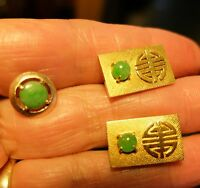 Vintage Yellow 14K Gold WW Chinese Imperial Jade Cuff links Tie Tac No Scrap