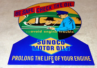 "VINTAGE SUNOCO CAR ATTENDANT! SUN 🌞☀️ OIL COMPANY 12"" METAL GASOLINE & OIL SIGN"