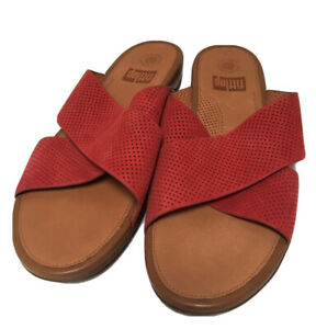Fitflop Red Leather Womens Shoes Sandals SZ 11.