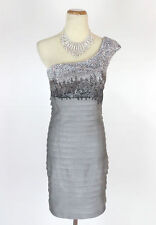 NWT $500 Jovani Size 4 Short Cruise Evening Cruise Formal Prom Silver Dress NEW