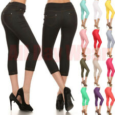626ce062a9751f Women Plain Cotton Capri Stretch Skinny Denim Jeans Slim Jeggings Pants  Size S-L