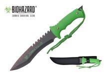 "13"" Biohazard Zombie Killer Hunting Tactical Knife Serrated Blade w/ Sheath New"