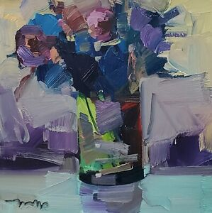 JOSE TRUJILLO Oil Painting IMPRESSIONISM STILL LIFE COLLECTIBLE BLUE FLOWERS ART