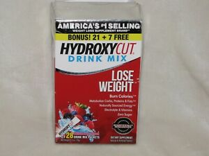 28 Packets Hydroxycut Wildberry Instant Drink Mix 21 + 7 Bonus Pack Exp 07/2022