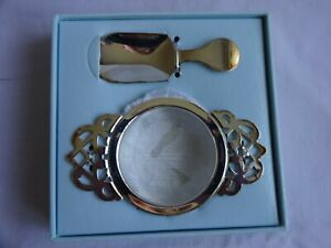 Whittard Silver Plated Tea Strainer Drip Tray & Caddy Spoon Boxed