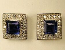 Vintage 14K White Gold With Tanzanite Surrounded by Diamonds Earrings Push Back