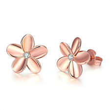 Women's Rose Gold Plated Crystal Lovely Solid Small Flower Ear Stud Earrings hs