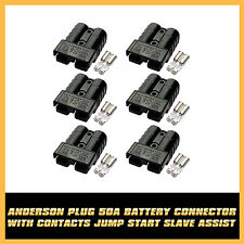 Black 6x Battery Charge 50AMP 10/12AWG Anderson Plug Style Connector W/ Contacts