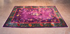 ANTIQUE CHINESE DECO WOOL RUG, PURPLE/GREEN/ORANGE, @ 8FT.X12FT.-GORGEOUS