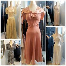 Vintage 30s 40s Sheer Organdy Novelty Printed Satin Crepe Princess Dress Lot 6