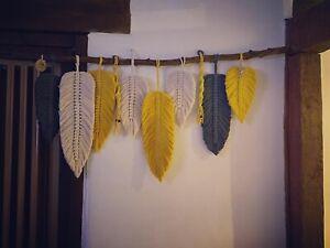 large macrame wall hanging, Wall Decor, Leaves, Mustard,grey,natural 50x100