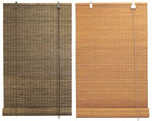 "30""x66"" Bamboo Flat-Weave Slat Stick Roll Up Blinds Window Sun Filtering Shade"