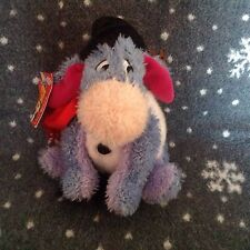 "THE DISNEY STORE SNOWMAN EEYORE WINNIE THE POOH SOFT PLUSH BEANIE TOY 7"" TALL"