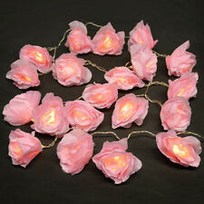 20 Battery Operated LED Pink Rose Flower Chain Lights Girls Fairy String Lights
