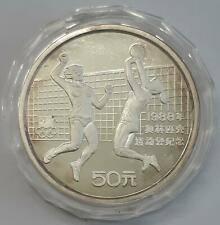 50 Yuan China 1988 Volleyball PP Silber Olympiade Seoul 5 oz selten RAR
