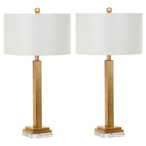 Crystal Base Table Lamp 30 in. 26W Dry Rated 1-Light Iron/Cotton Clear Gold
