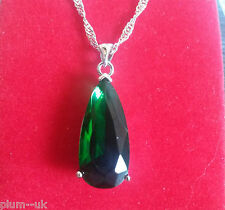 P155 Plum UK Large 25mm green emerald pendant & chain silver /white gold gf BOXD