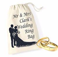 Personalised 3 Bride Groom Wedding Ring Bands Pouch Bag Drawstring Keepsake