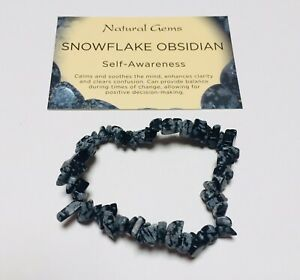 Snowflake Obsidian Crystal Chip Bracelet with organza bag and crystal card