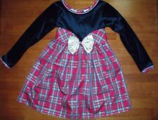 Girls Velvet and Plaid High Waisted Dress with Attached Belt  Size 7  LN!!
