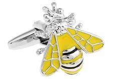 Bee Cufflinks Wedding Father Fancy Gift Box & Polishing Cloth Free Ship USA