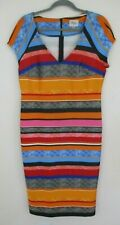 Beige by eci Women's Dress Striped Southwest colors summer V neck knee length 10