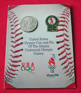 1995 Atlanta Olympics baseball souvenir card - half dollar & pin