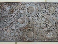 """Large antique wooden carved panel depicting sunflowers & foliage 7'7"""" long"""