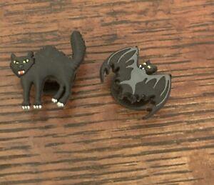 Jibbitz Croc Clog Shoe Charm Bracelet Authentic Halloween Black Cat & Bat