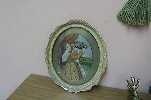 "Vintage Hand Stitched Needlepoint Petite Point Tapestry 6"" x 9"" - 11""x13"" Framed"