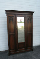 Early 1900s Hand Carved Solid Oak Tall Armoire Wardrobe 1512