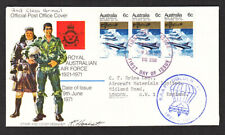 AUSTRALIA #499 HORIZONTAL STRIP OF 3 - 1ST DAY COVER GOLDEN JUBILEE R.A.A.F 1971