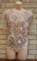NEW LOOK NUDE PINK FLORAL EMBROIDERED SEQUIN BEADED PARTY BLOUSE TOP SHIRT 18